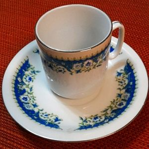 Blue and Gold Demitasse Tea Cup and Saucer